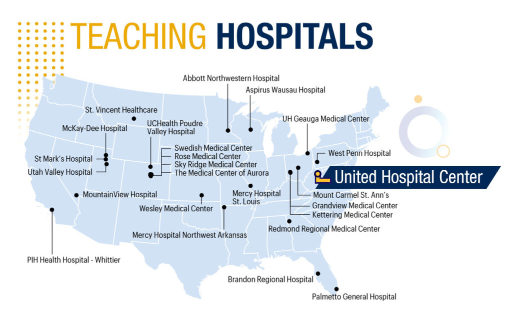 Teaching hospitals map