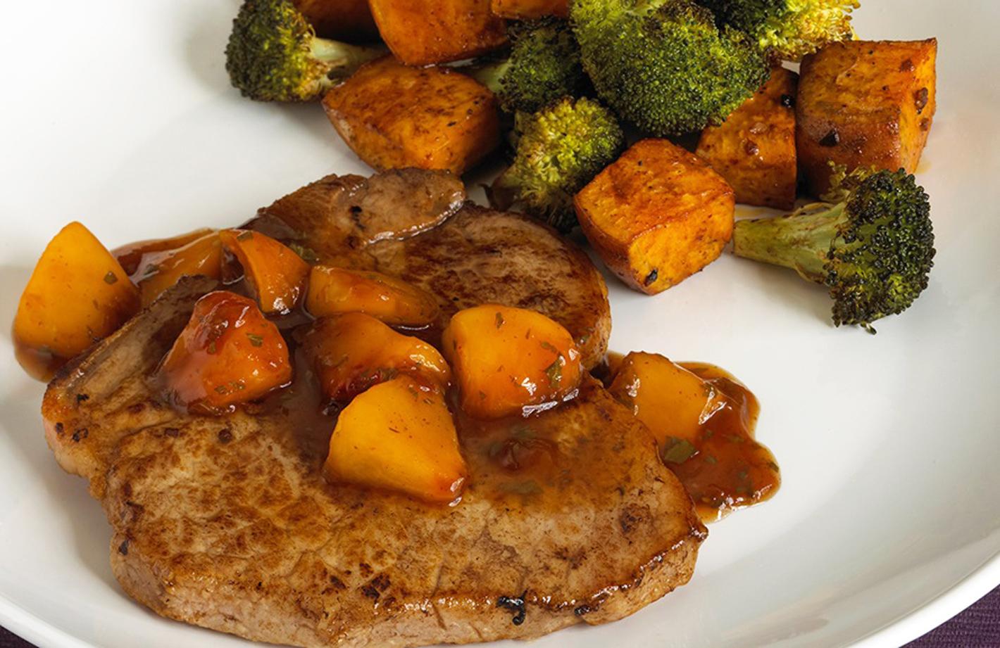 Pork Chops with Balsamic-Peach Glaze, Roasted Sweet Potatoes and Broccoli